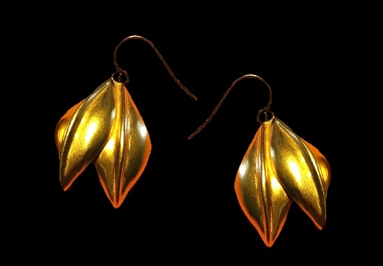 Double leaf gold plated earrings