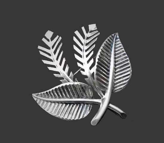 Double leaf sterling silver brooch