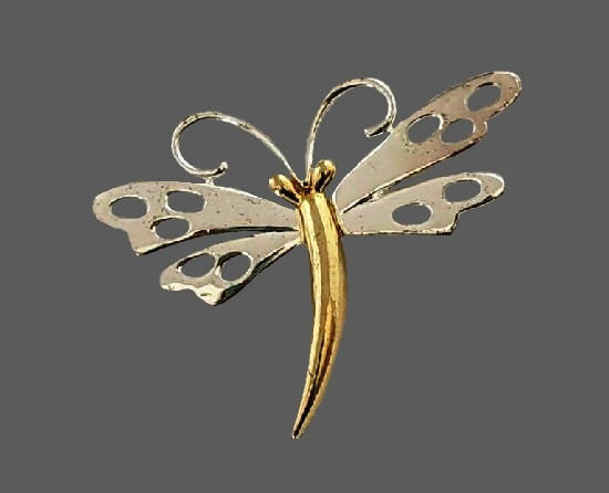 Dragonfly two tone metal pin
