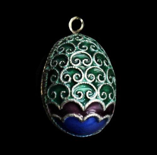 Easter egg pendant. Silver, hot enamel, 1990s