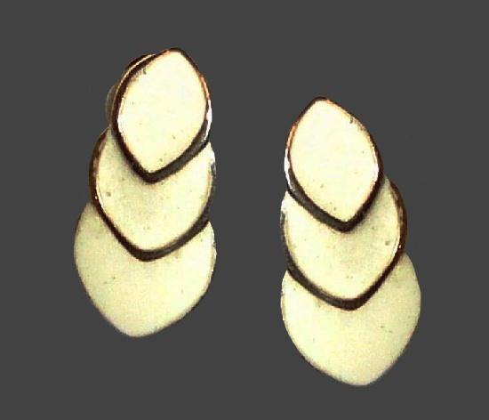 Enameled gold tone clip on earrings