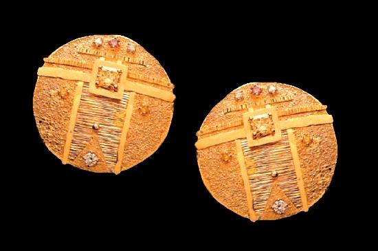 Eric Russell. Earrings. 18k gold, fancy color diamonds. 1990