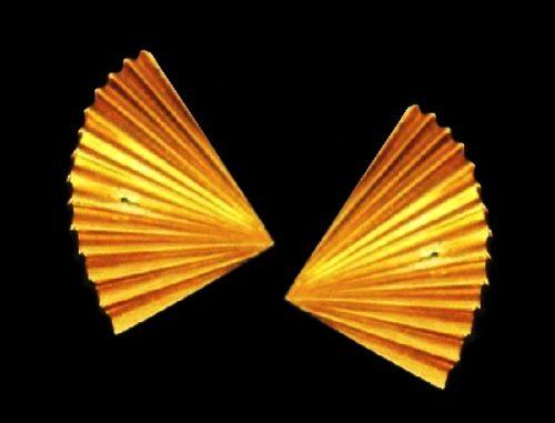Fan shaped gold tone earrings