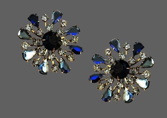 Faux amethyst rhinestone floral design clip on earrings