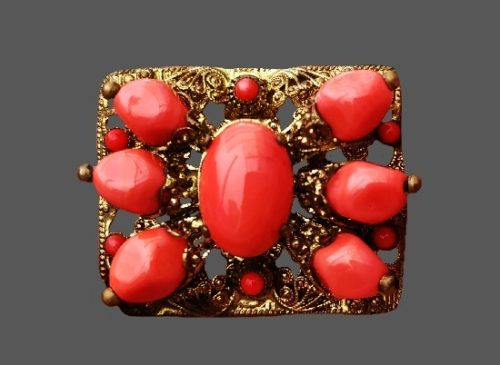 Faux coral gold tone brooch