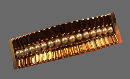 Faux pearl brown rhinestone gold tone cuff bracelet