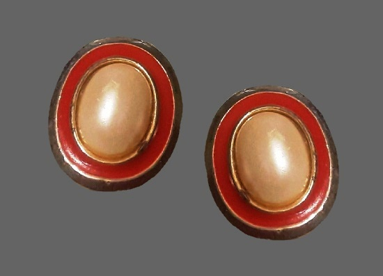 Faux pearl red enamel silver tone clip on earrings