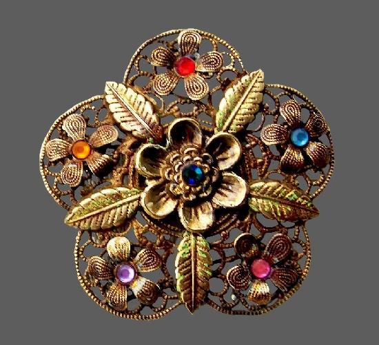 Filigree brass, glass cabochons flower vintage brooch