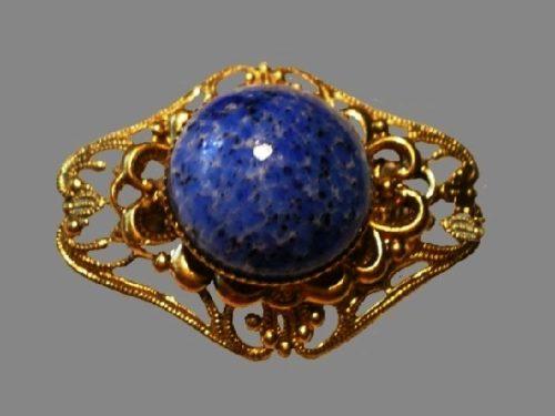 Filigree brooch - metal, Czech glass imitating lapis lazuli. 1950s