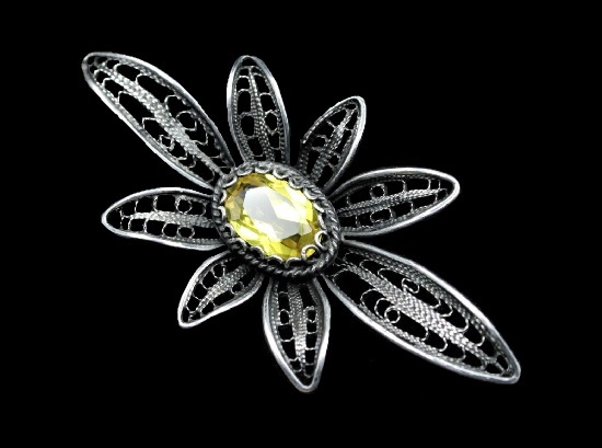 Filigree silver citrine brooch of floral design. 1974. Yerevan jewelry factory