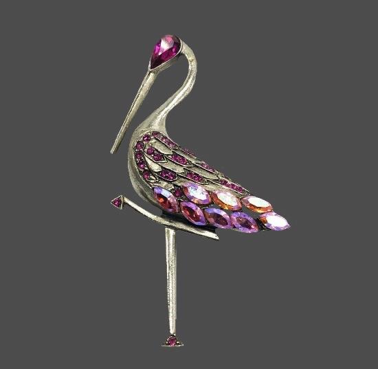Flamingo brooch. Silver tone, pink rhinestones