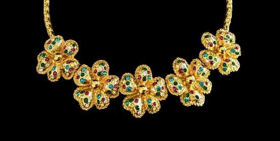 Floral design gold tone art glass necklace