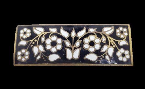 Floral design rectangular brooch. Jewelry alloy, hot enamel. 1960s