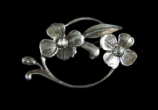 Floral design sterling silver brooch designed for Danecraft