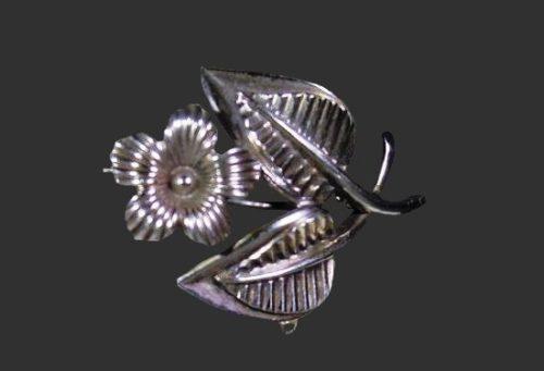 Flower Watch brooch of sterling silver