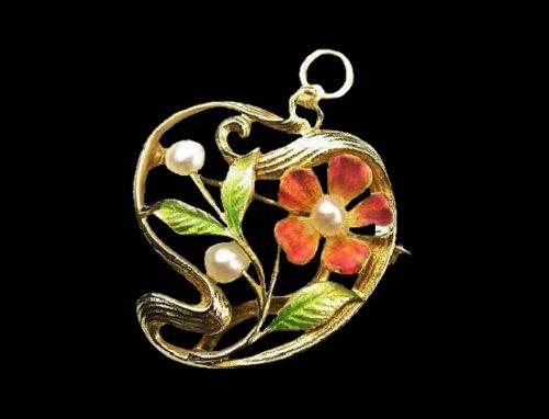 Flower circle pin pendant. 14 K gold, enamel, pearls