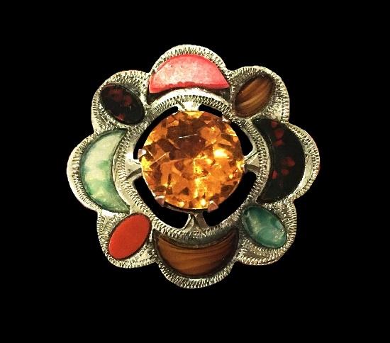Flower design brooch. Sterling silver, citrine, Scottish agate. 1959