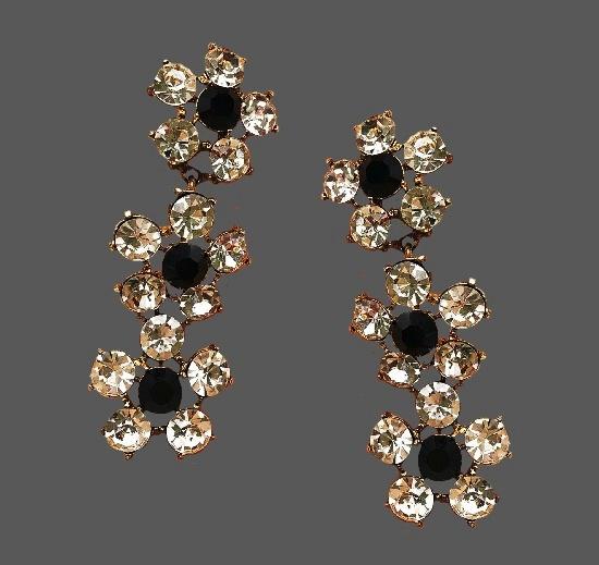 Flower design long dangling earrings. Gold tone metal, rhinestones