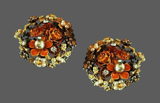 Flowerbed clip on earrings. Metal alloy, crystals, faux pearls, rhinestones, enamel