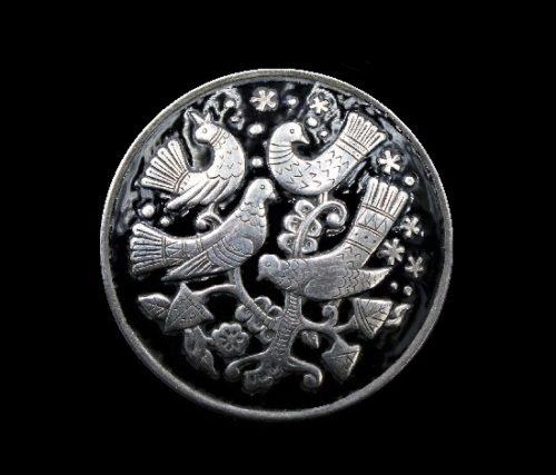 Folk ornament bird brooch of round shape. Silver, hot enamel. 1960s