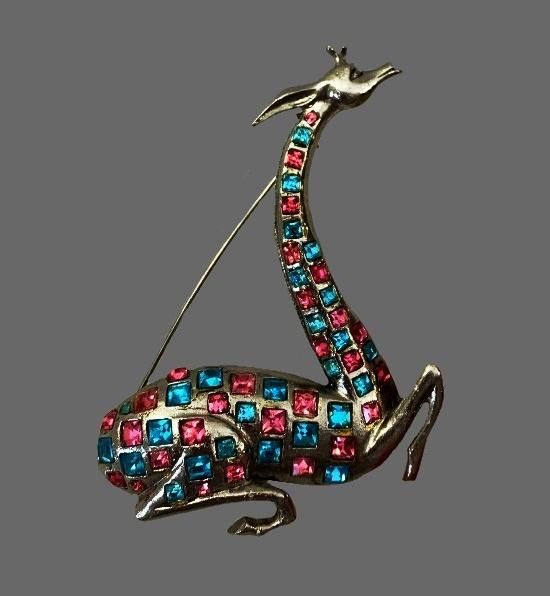 Giraffe brooch p. Silver plated, aqua pink rhinestones