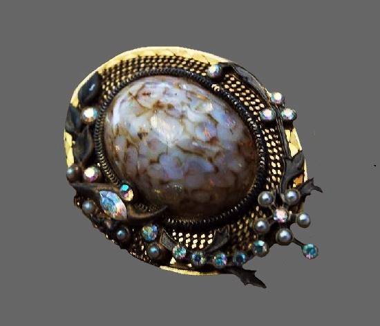 Gold plated art glass rhinestones bne brooch pendant. 4.5 cm. 1980s