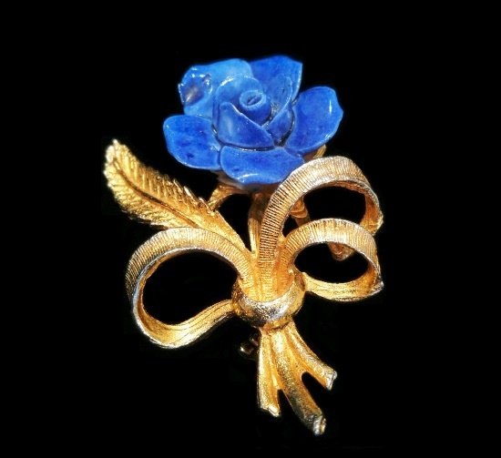 Gold tone bow blue bone china rose flower brooch
