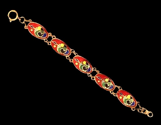 Gold tone, red, blue, green, yellow and black enamel bracelet. 1960s