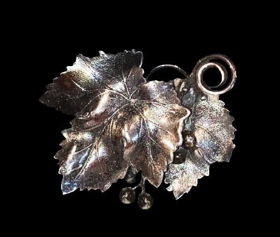 Grape leaves sterling silver brooch