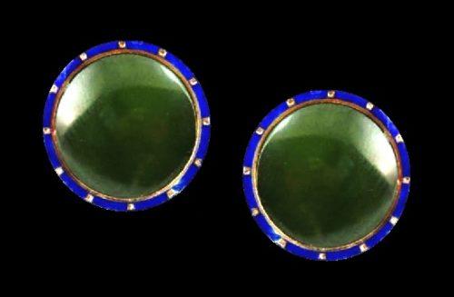 Green jade blue enamel 14 K gold cufflinks