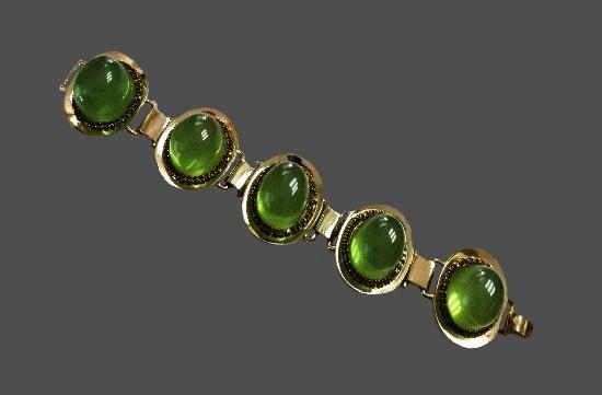 Green lucite gold tone metal bracelet. 1960s