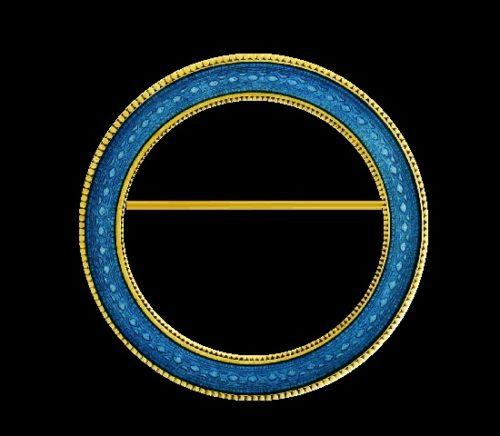 Guilloche enamel 14 K gold circle pin