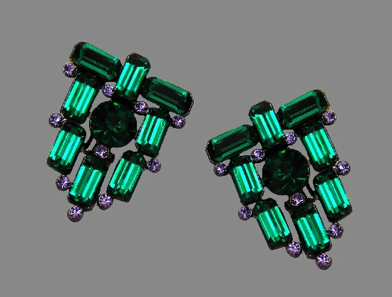 Haute Couture Modernistic Design lavender and emerald green rhinestone clip on earrings