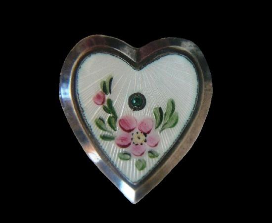 Heart sterling silver enamel pendant