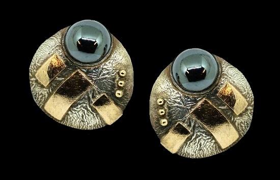 Hematite 14k gold sterling silver earrings by Caroline Strieb