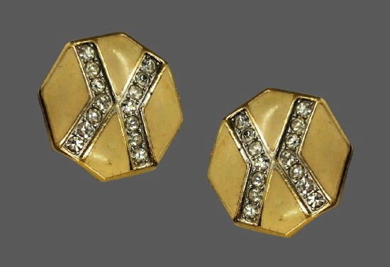 Hexagon clip on earrings. Gold plated metal alloy, lucite, clear rhinestones. 1980s