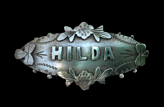 Hilda name series Victorian brooch. Sterling silver. 1899 Chester marked. 4 cm