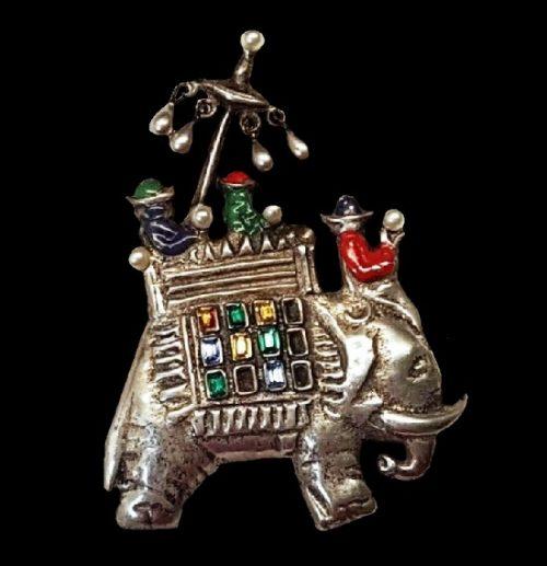Indian motif Men on Elephant brooch. Sterling silver, enamel, faux pearls, art glass. 1940s