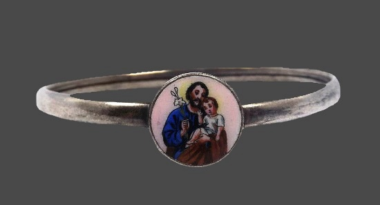Jesus and child kids bangle bracelet. Sterling silver, enamel
