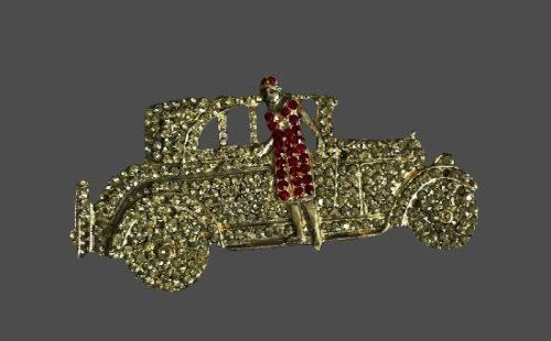 Lady with retro automobile rhinestone brooch