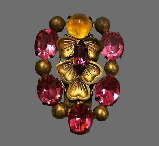 Large pink rhinestones gold tone metal brooch