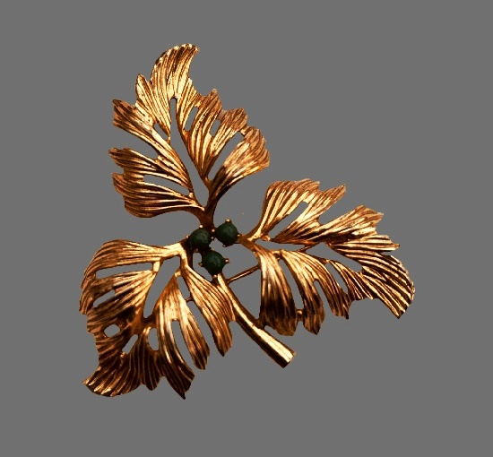 Leaf branch brooch. Gold tone metal alloy, rhinestones. 1962