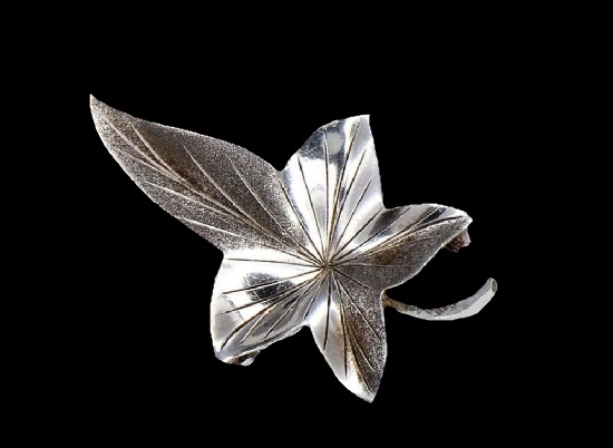 Leaf sterling silver pin. 1965