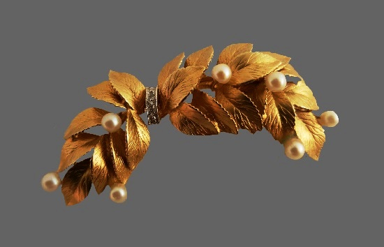 Leaves pearl rhinestone 12 K gold filled brooch