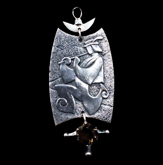 Lel (Russian folk character) pendant. 875 Silver, topaz. 10 cm. 1971. Lvov jewelry factory