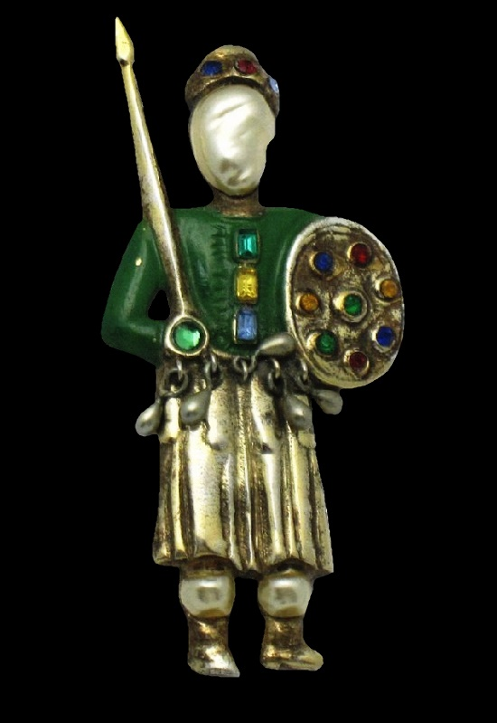 Medieval Warrior with Shield and Spear brooch. Sterling silver, art glass, baroque pearl. 1940s