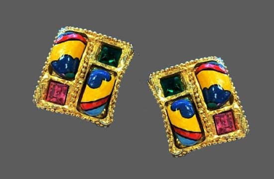 Mixed metals enamel clip on earrings