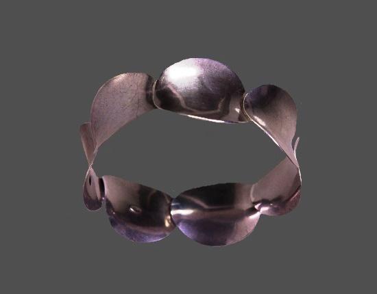 Modernist 925 sterling silver bangle bracelet. 1970s