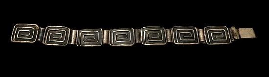 Modernist design sterling silver bracelet