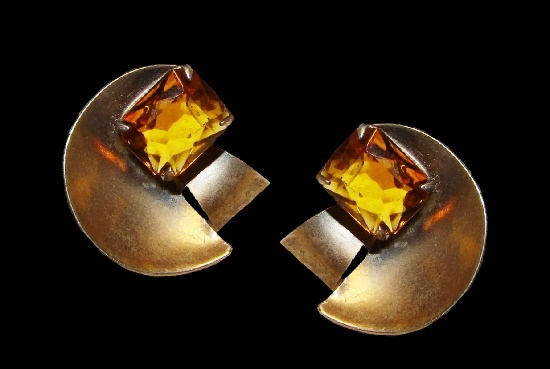 Modernist design sterling silver yellow rhinestone earrings. 1940s